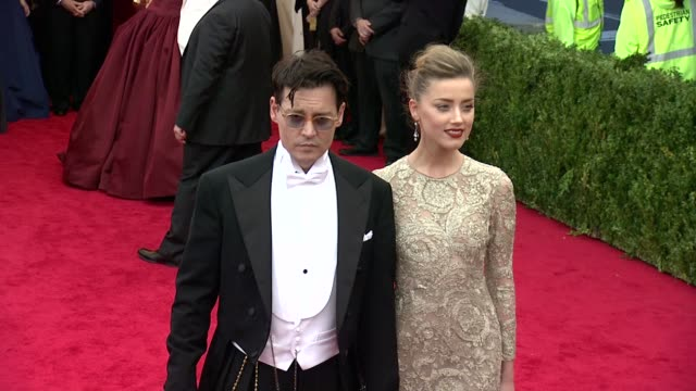 Johnny Depp Amber Heard at Charles James Beyond Fashion Costume Institute Gala Arrivals at The Metropolitan Museum on May 05 2014 in New York City