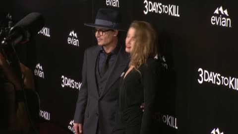 """johnny depp and amber heard at """"3 days to kill"""" los angeles premiere at arclight cinemas on in hollywood, california. - arclight cinemas hollywood stock videos & royalty-free footage"""