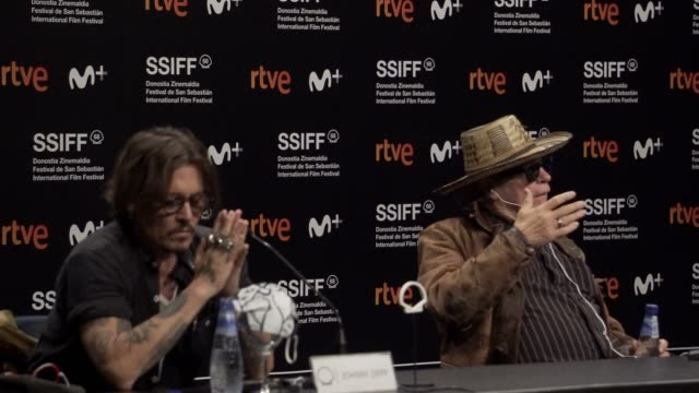 johnny depp and julien temple attends 'crock of gold: a few rounds with shane macgowan' press conference during the 68th san sebastian international... - julien temple stock videos & royalty-free footage