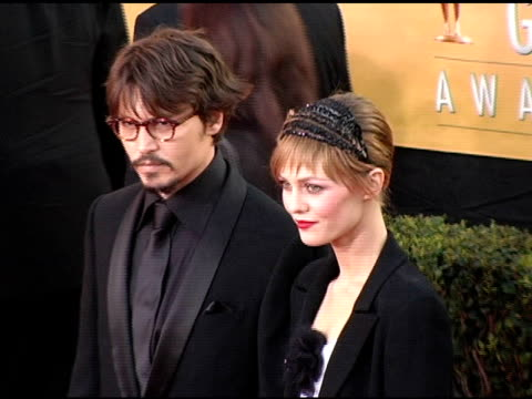 Johnny Depp and Vanessa Paradis at the 2005 Screen Actors Guild SAG Awards Arrivals at the Shrine Auditorium in Los Angeles California on February 5...