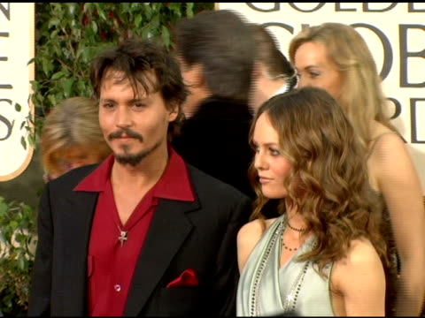 Johnny Depp and Vanessa Paradis at the 2006 Golden Globe Awards Arrivals at the Beverly Hilton in Beverly Hills California on January 16 2006