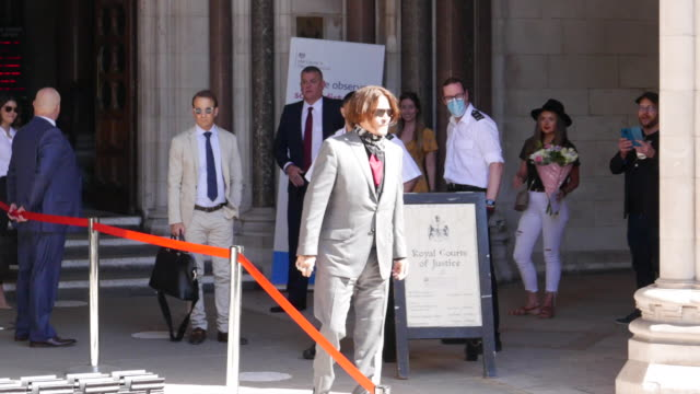 johnny depp arrives at royal courts of justice as the depp libel case continues at celebrity sightings in london on july 21 2020 in london england - johnny depp stock videos & royalty-free footage