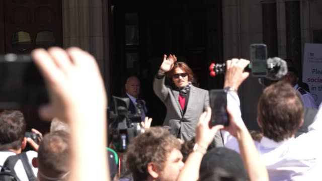 johnny depp arrives at royal courts of justice strand on july 7 2020 in london englandhollywood actor is taking news group newspapers publishers of... - sky only stock videos & royalty-free footage