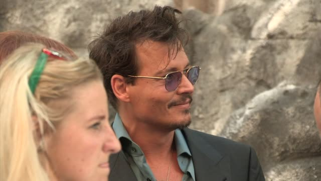 johnny depp at johnny depp at the lone ranger uk premiere at od at odeon leicester square on july 21 2013 in london england - the lone ranger 2013 film stock videos and b-roll footage