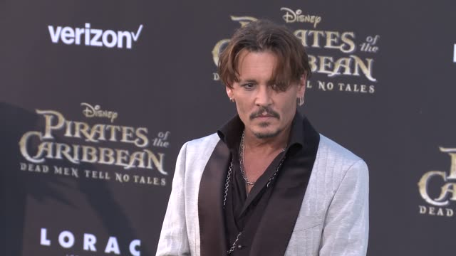 johnny depp at pirates of the caribbean dead men tell no tales premiere in los angeles ca - johnny depp stock videos and b-roll footage
