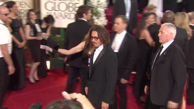 johnny depp at the 68th annual golden globe awards arrivals part 2 at beverly hills ca - johnny depp stock videos & royalty-free footage