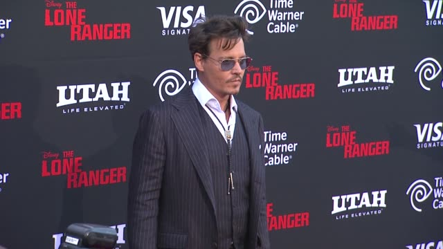 Johnny Depp at The Lone Ranger Los Angeles Premiere Johnny Depp at The Lone Ranger Los Angeles Premi at Disney California Adventure Park on June 22...