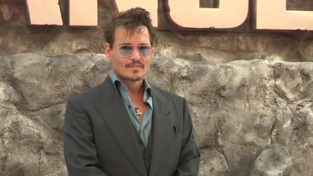 johnny depp at the lone ranger uk premiere at odeon leicester square on july 21 2013 in london england - the lone ranger 2013 film stock videos and b-roll footage