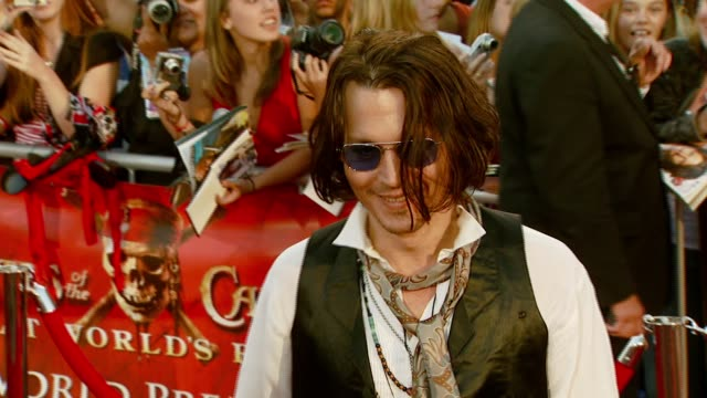 Johnny Depp at the 'Pirates of the Caribbean At World's End' World Premiere at Disneyland in Anaheim California on May 19 2007