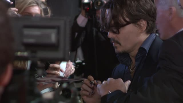 johnny depp at the the rum diary european premiere at london england - johnny depp stock videos and b-roll footage