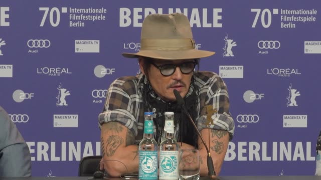 johnny depp discussing the minamata disease at the 'minamata press conference 70th berlinale international film festival berlin at berlinale palace... - johnny depp stock videos & royalty-free footage