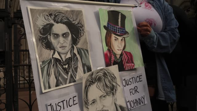johnny depp fans wait outside the courts to show their support on the last day of the johnny depp vs the sun trial at royal courts of justice strand... - amber heard stock videos & royalty-free footage