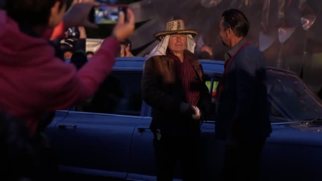 johnny depp has joked about assassinating president donald trump during an appearance at glastonbury festival. the hollywood actor received a rock... - お祭り好き点の映像素材/bロール