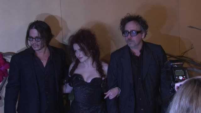 Johnny Depp Helena Bonham Carter and Tim Burton at the MoMA's Second Annual Film Benefit Honoring Tim Burton at New York NY