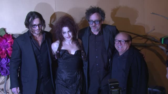 Johnny Depp Helena Bonham Carter Tim Burton and Danny DeVito at the MoMA's Second Annual Film Benefit Honoring Tim Burton at New York NY