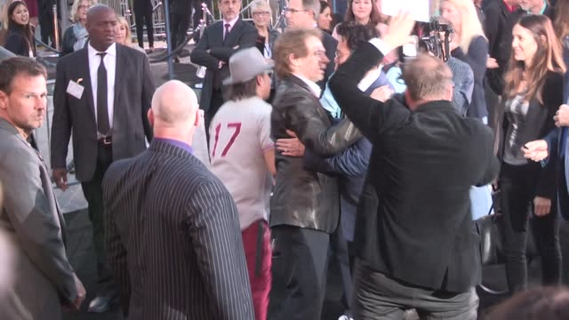 Johnny Depp Jerry Bruckheimer at the Transcendence Premiere in Westwood Celebrity Sightings in Los Angeles on April 10 2014 in Los Angeles California