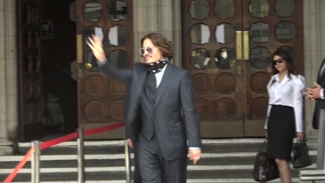 johnny depp court arrival england london royal courts of justice ext johnny depp wearing bandana out of car and shaking hands with supporters as... - crying stock videos & royalty-free footage