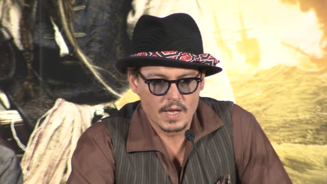 Johnny Depp on bugs insects shooting locations at the Pirates of the Caribbean On Stranger Tides Press Conference at London England