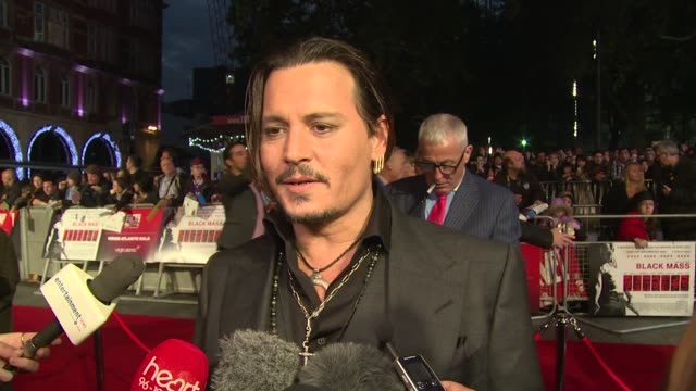 INTERVIEW Johnny Depp on his character and the movie at Odeon Leicester Square on October 11 2015 in London England