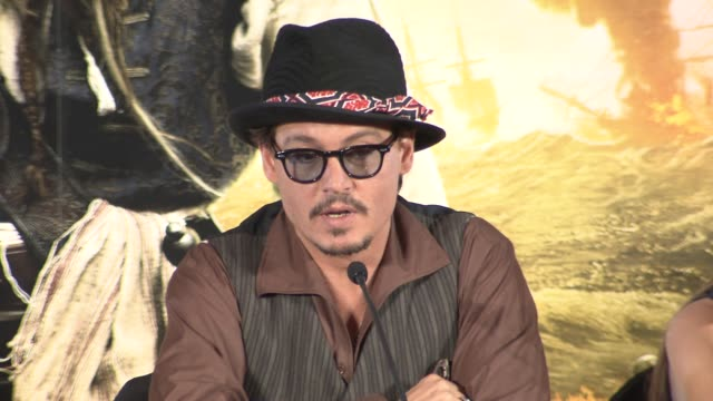 Johnny Depp on hoping the Cannes Film Festival hates the new film and more at the Pirates of the Caribbean On Stranger Tides Press Conference at...