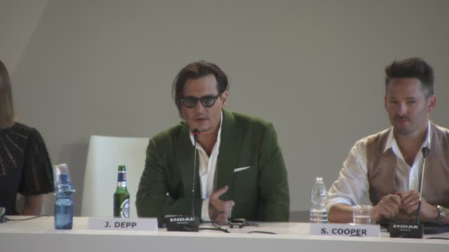 interview johnny depp on playing an evil character at 'black mass' press conference on september 04 2015 in venice italy - johnny depp stock videos and b-roll footage