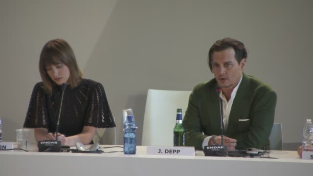 interview johnny depp on playing real life criminals at 'black mass' press conference on september 04 2015 in venice italy - johnny depp stock videos and b-roll footage