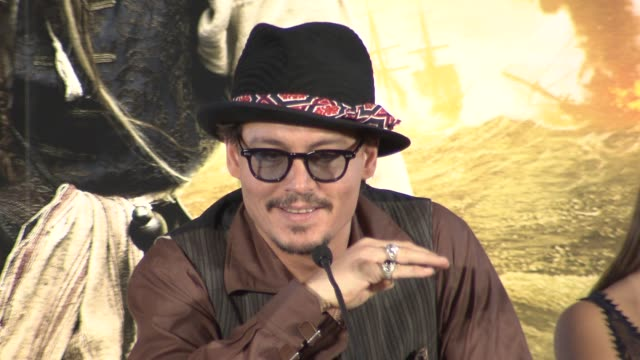 johnny depp on playing the guitar keith richards and more at the pirates of the caribbean on stranger tides press conference at london england - johnny depp stock videos and b-roll footage