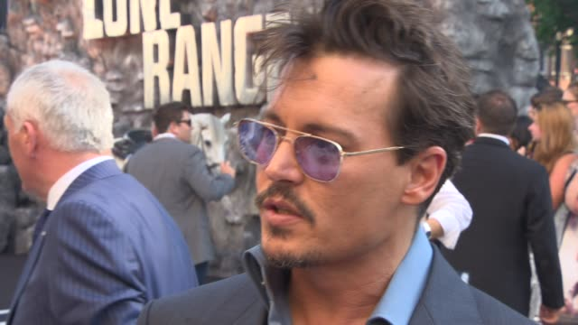 interview johnny depp on why people love the lone ranger story and working with gore at interview johnny depp on why people love the lon at odeon... - johnny depp stock videos and b-roll footage
