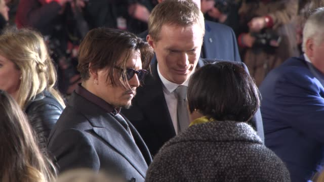 BROLL Johnny Depp Paul Bettany at 'Mortdecai' UK Premiere on January 19 2015 in London England