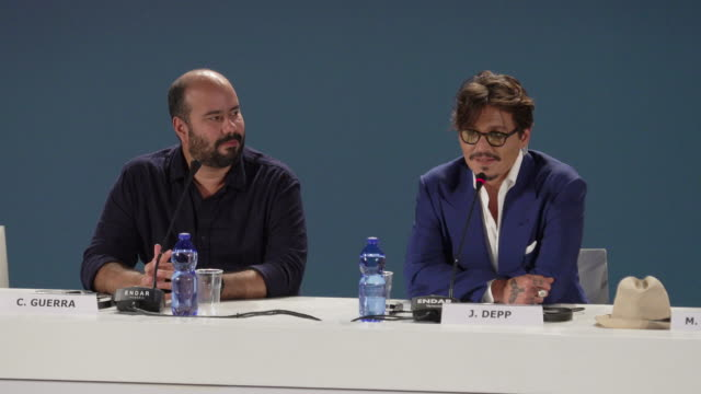 interview johnny depp talking about how proud he is of his daughter and her appearance at the festival at 'waiting for the barbarians' press... - 76th venice film festival 2019点の映像素材/bロール