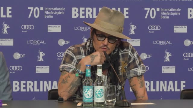 johnny depp talking about w. eugene smith on minamata at the 'minamata; press conference, 70th berlinale international film festival berlin at... - film festival stock videos & royalty-free footage