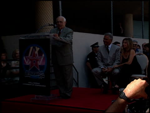 stockvideo's en b-roll-footage met johnny grant at the dedication of james brolin's hollywood walk of fame star at 7018 hollywood blvd in los angeles, california on august 27, 1998. - james brolin
