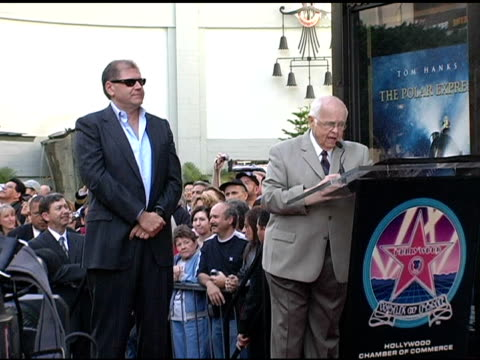 johnny grant declares it robert zemeckis day at the dedication of robert zemeckis' star on the hollywood walk of fame at hollywood boulevard in... - robert zemeckis stock videos and b-roll footage