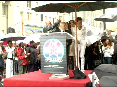 johnny grant introduces destiny's child at the dedication of destiny's child's star on walk of fame at hollywood boulevard in hollywood, california... - destiny's child stock-videos und b-roll-filmmaterial