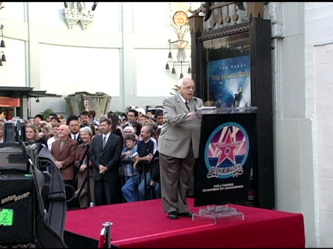 johnny grant introduces robert zemeckis and tom hanks at the dedication of robert zemeckis' star on the hollywood walk of fame at hollywood boulevard... - robert zemeckis stock videos and b-roll footage