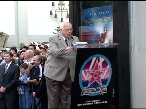 johnny grant on robert zemeckis' credits at the dedication of robert zemeckis' star on the hollywood walk of fame at hollywood boulevard in hollywood... - robert zemeckis stock videos and b-roll footage