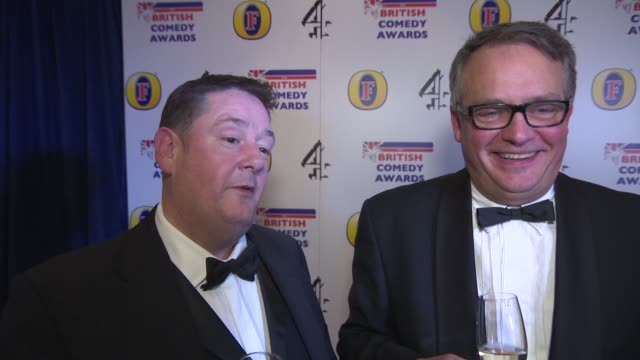 interview johnny vegas and charlie higson on paul whitehouse at british comedy awards at fountain studios on december 12 2013 in london england - paul whitehouse stock-videos und b-roll-filmmaterial