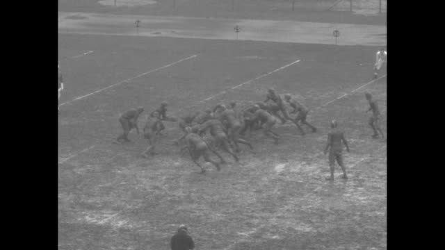 johns hopkins blue jays football team kicks off ball to open second half against maryland terrapins / rear view of spectators sitting and holding... - waterproof clothing stock videos and b-roll footage