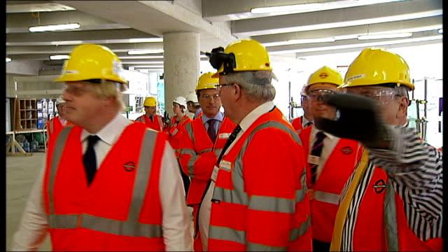 johnson visits crossrail construction site mayor of london boris johnson tfl commissioner peter hendy transport secretary patrick mcloughlin and... - patrick mcloughlin stock videos and b-roll footage