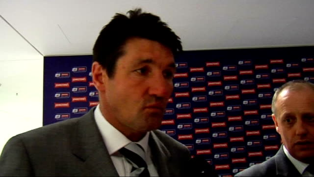 Johnstone's Paint Trophy Final Luton v Scunthorpe Mick Harford interview Harford interview SOT Has been difficult season for management team fans...