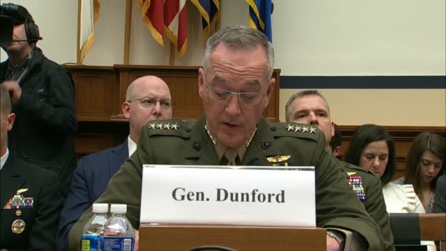 joint chiefs of staff chairman general joe dunford tells the house armed services committee that the defense strategy recognizes the challenges to... - joint chiefs of staff stock videos and b-roll footage