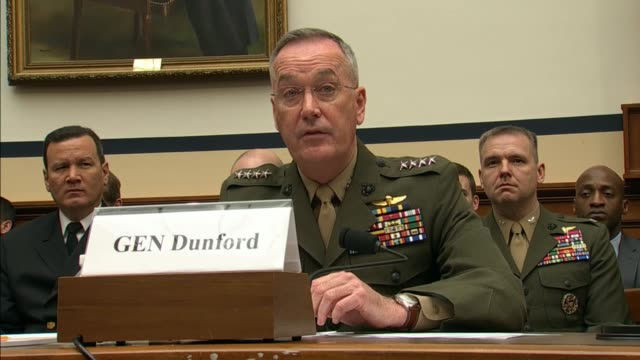 joint chiefs of staff chairman joe dunford read a prepared statement to house armed services in review of the fiscal 2017 defense authorization... - joint chiefs of staff stock videos and b-roll footage