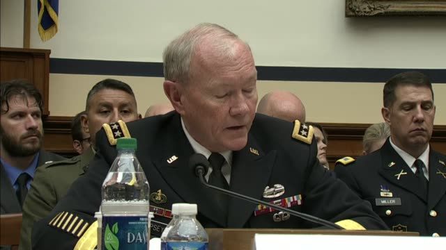 joint chiefs of staff chairman martin dempsey emphasizes the us military power alone will not solve this - joint chiefs of staff stock videos and b-roll footage