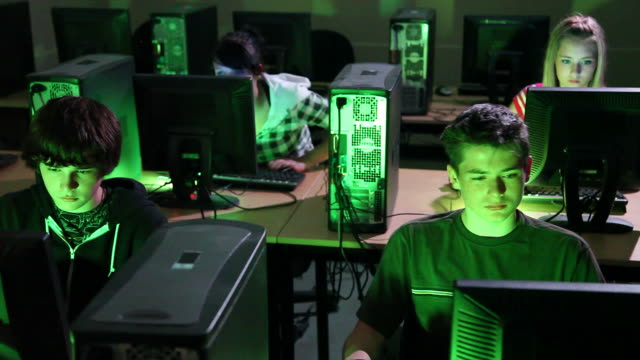 Joint Reaction, High School Students Video Gaming Together, Computer Lab