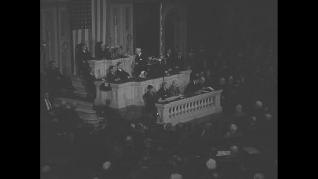 vs joint session of us congress applauds secretary of state cordell hull who is here to report on the third moscow conference which he attended / sot... - cordell hull stock videos and b-roll footage