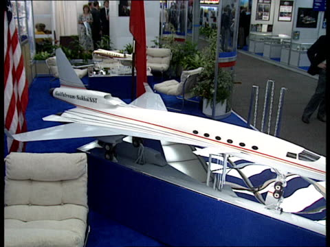 Joint UKUSSR venture hope for HOTOLl INT Various shots of model of the Gulfstream Sukhoi supersonic business jet