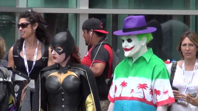 Joker Bat Girl together costumes on streets of San Diego Comic Con at Celebrity Sightings ComicCon International 2013 Celebrity Sightings ComicCon...