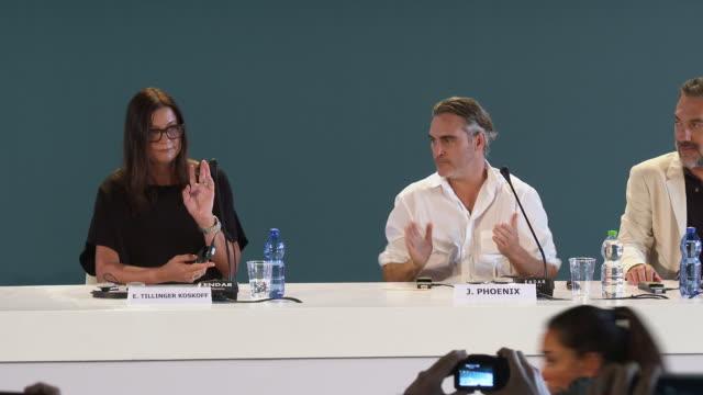 joker' press conference- 76th venice film festival at palazzo del casino on august 31, 2019 in venice, italy. - べネチア国際映画祭点の映像素材/bロール
