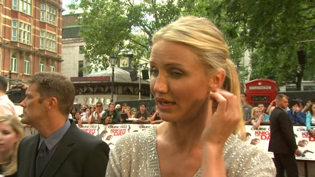 jokes about finding it very hard work to film on the beach at the 'knight and day' uk premiere at london england - cameron diaz stock videos & royalty-free footage