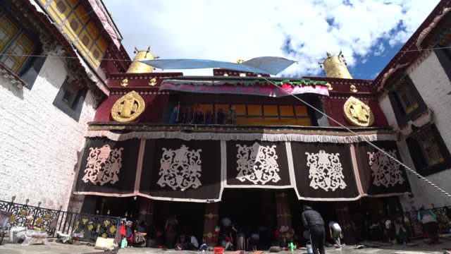 jokhang temple one of the holiest sites of tibetan buddhism and listed on unesco world cultural heritage - unesco stock videos & royalty-free footage